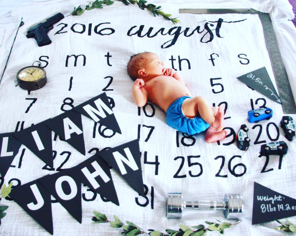 Monochrome Birth Announcement