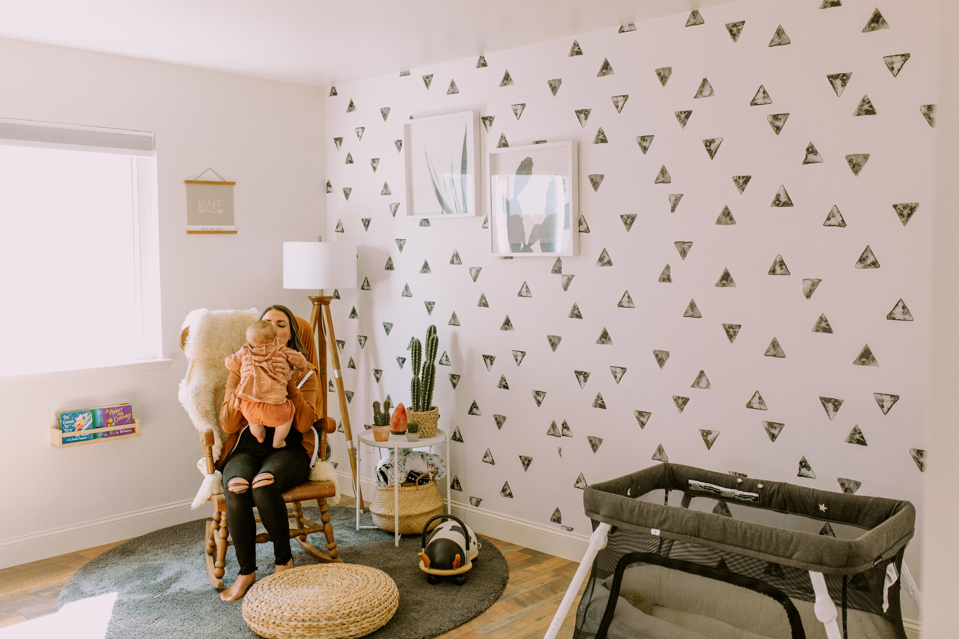Rocky Mountain Decal Aztec Nursery made with Peel and Stick Wallpaper