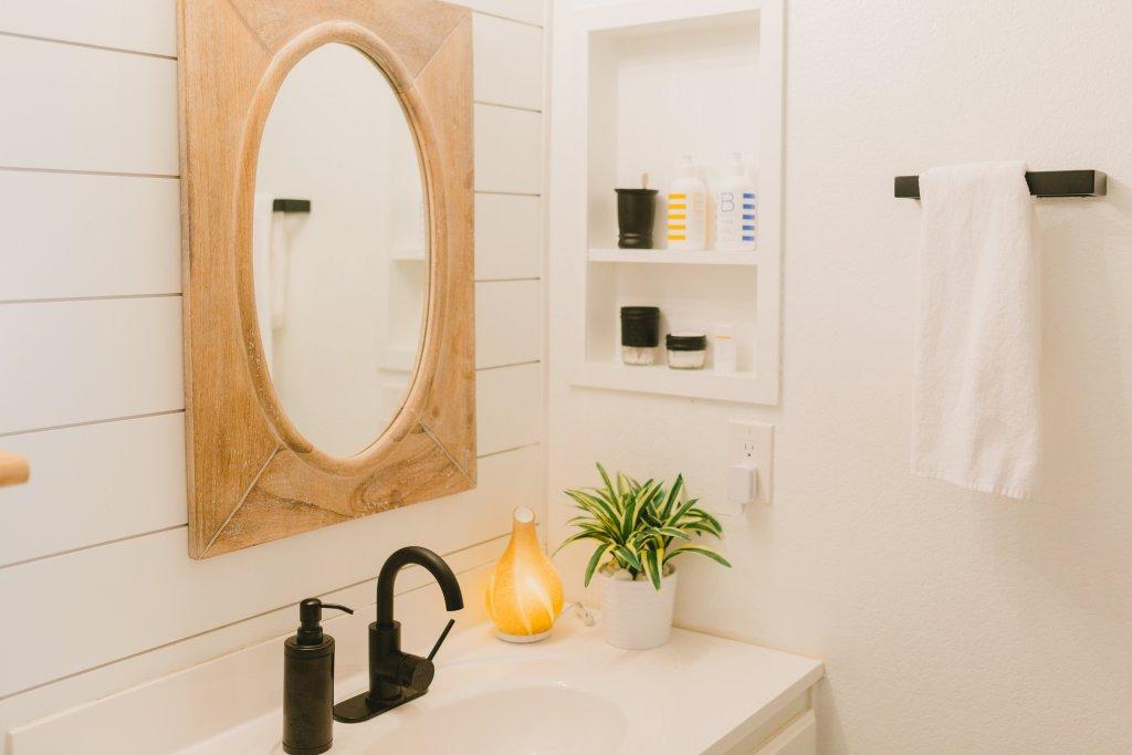 Kid Friendly Modern Bathroom with Matte Black Fixtures